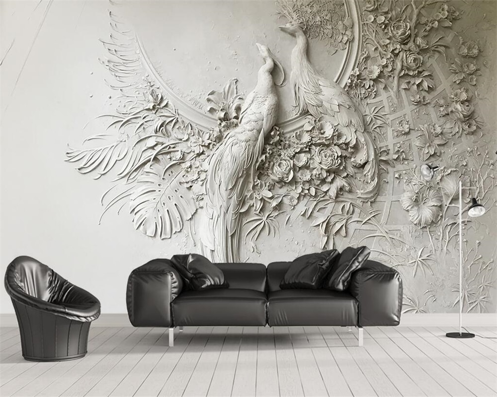 Custom wallpaper 3D three-dimensional embossed peacock TV couch background wall living room bedroom mural 3d wallpaper