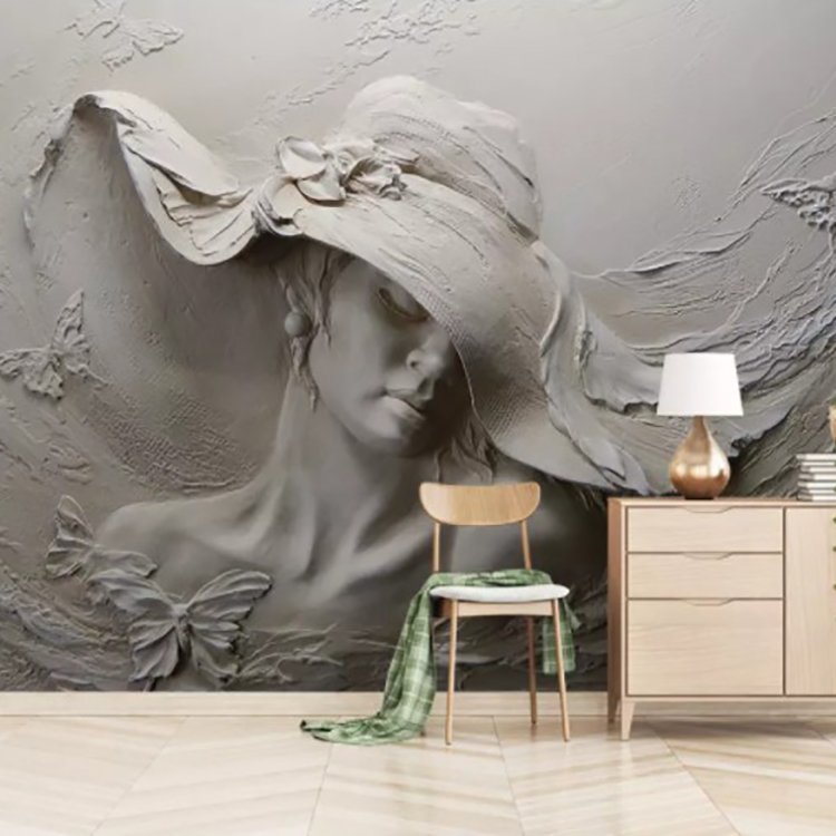 Hot Selling Custom 3D Wall Paper Embossed Grey Beauty Photo Wall Mural For Living Room Bedroom Wallpaper Home Decoration